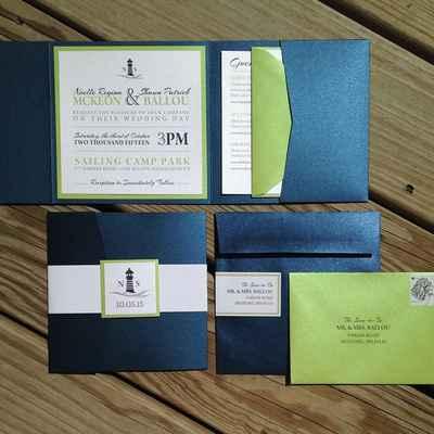 Blue wedding invitations