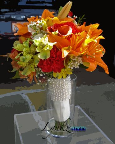Red lilly wedding bouquet