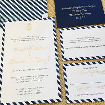 Marine blue wedding invitations