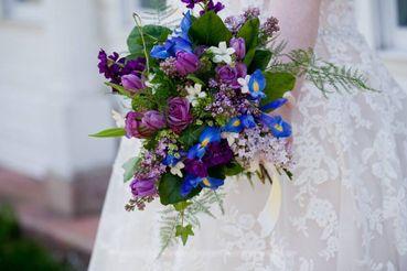 Blue rose wedding bouquet