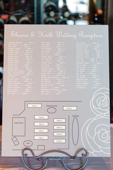 Grey wedding signs