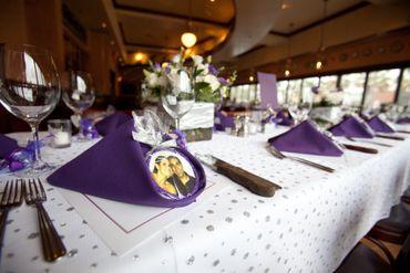 Purple wedding favours