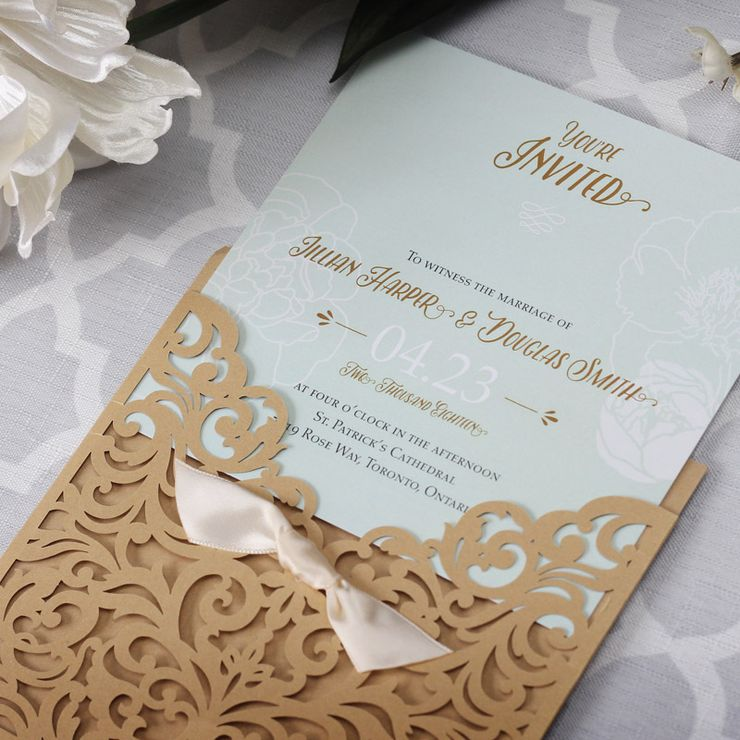 Vintage Laser Cut Wedding Invitation