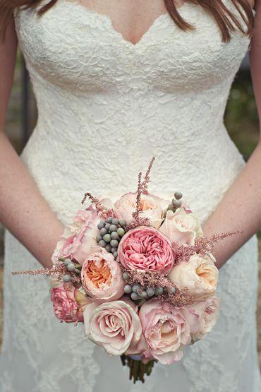 Orange rose wedding bouquet