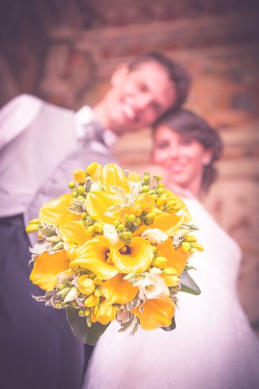 Yellow calla wedding bouquet