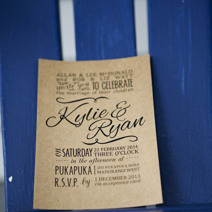 Kylie & Ryan's kraft wedding stationery