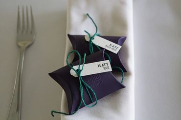 Purple wedding favours
