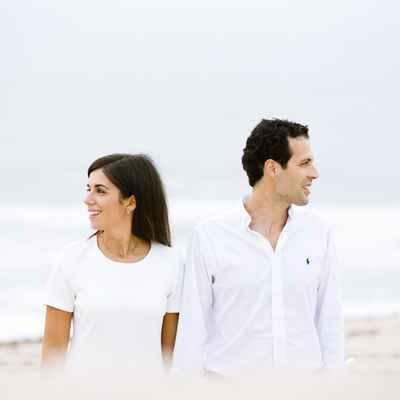 Beach white engagement
