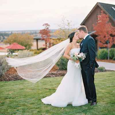 Outdoor autumn ivory long wedding dresses
