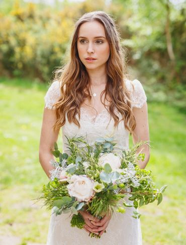 Outdoor summer white peony wedding bouquet