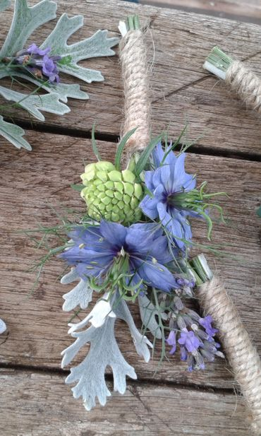 Blue wedding buttonhole