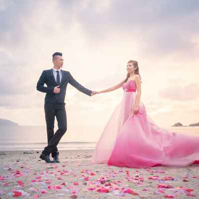Beach pink long wedding dresses