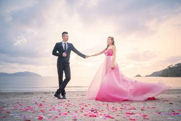 Beach pink long wedding dresses