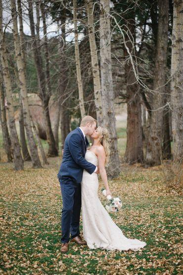 Outdoor autumn white long wedding dresses