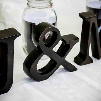 Black wedding reception decor