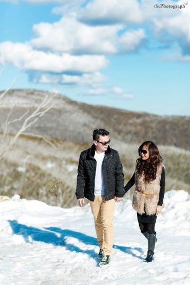 Outdoor winter engagement