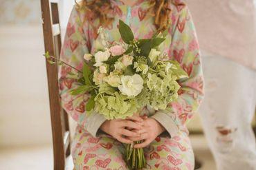 Green rose wedding bouquet