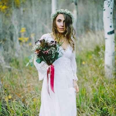 Rustic white long wedding dresses