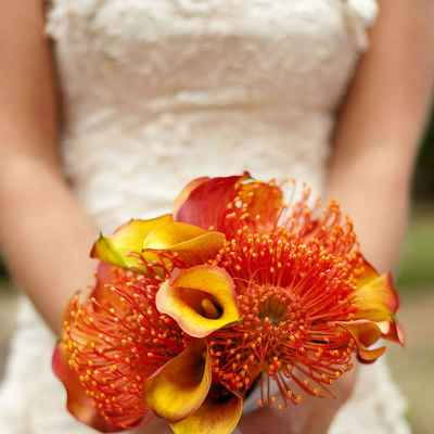 Red calla wedding bouquet
