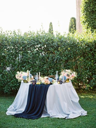Outdoor blue wedding reception decor