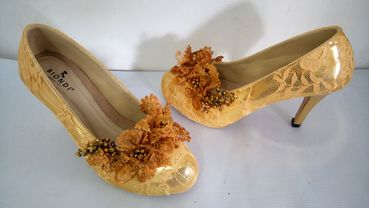 Yellow wedding shoes