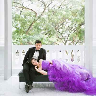 Overseas purple long wedding dresses