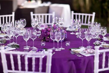 Outdoor purple wedding reception decor