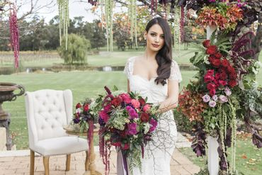 Outdoor white rose wedding bouquet