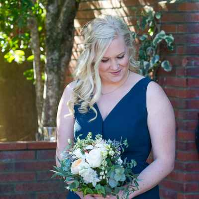 Outdoor blue bridesmaids