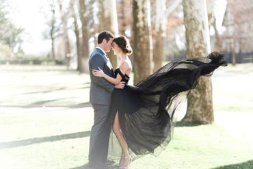 Outdoor black long wedding dresses