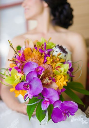 Yellow orchid wedding bouquet