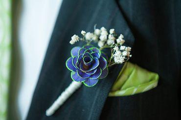 Blue wedding buttonhole