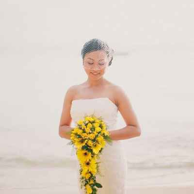 Beach yellow rose wedding bouquet