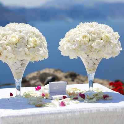 Outdoor ivory wedding ceremony decor
