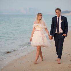 Beach ivory short wedding dresses