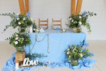 Overseas blue wedding reception decor