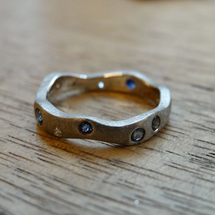 Recycled White Gold and Australian Sapphire and Diamond Everyday Ring