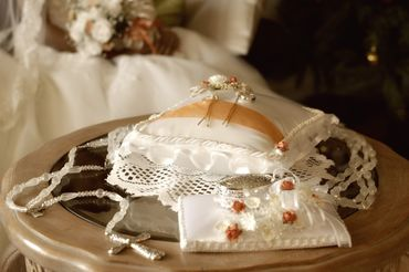 White wedding ring pillows