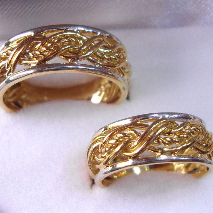 Braid Wedding Set 14karat Gold with or without Diamond