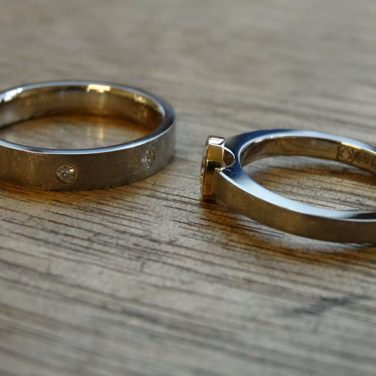 Created Moissanite and Recycled Metals Engagement Rings