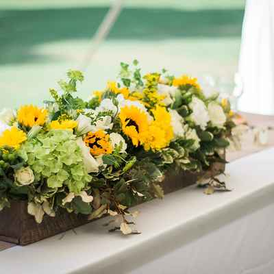 White outdoor wedding floral decor
