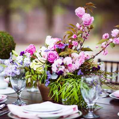 Brown outdoor wedding reception decor