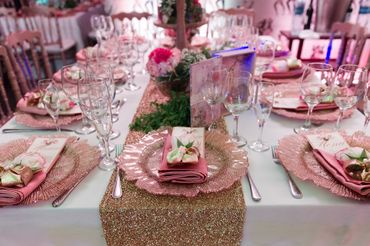 Pink overseas wedding reception decor