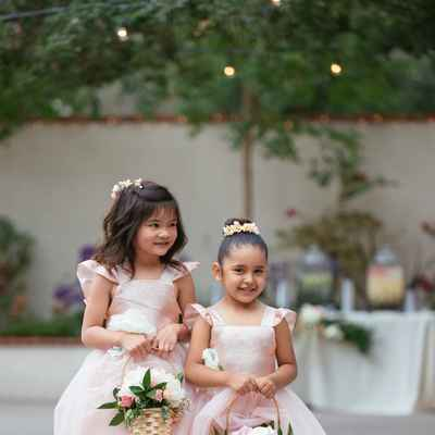 Pink outdoor kids at wedding