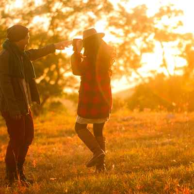 Autumn outdoor engagement