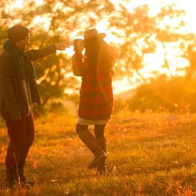 Autumn outdoor engagement
