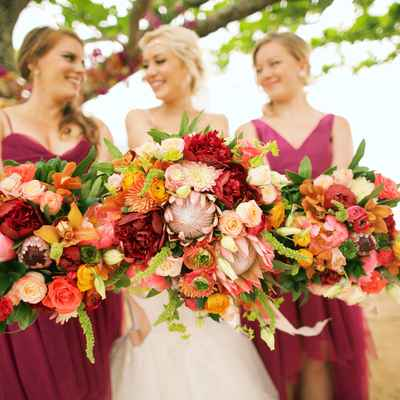 Summer orange outdoor rose wedding bouquet