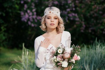 White outdoor bridal hair and make-up