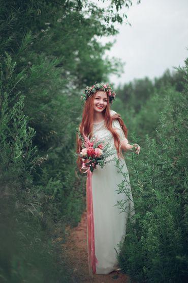 Summer outdoor long wedding dresses