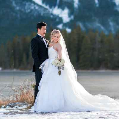 Winter outdoor long wedding dresses